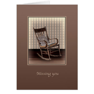 Missing You, Empty Old Vintage Rocking Chair Greeting Card