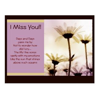 Missing You Flower Garden Postcard
