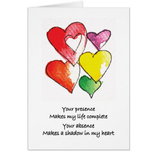 Missing You Hearts Greeting Card