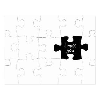 Missing You Puzzle Piece Postcard