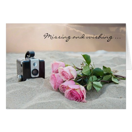 Missing You-roses on beach Card
