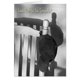 Missing You Stepdad, Cap and Rocking Chair Photo Greeting Card