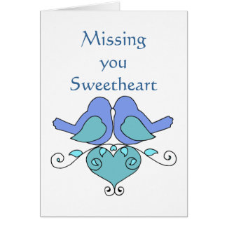 Missing You Sweetheart Blue Lovebirds Floral Heart Card