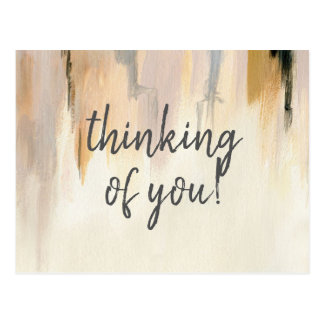 Missing you watercolor brush strokes postcard