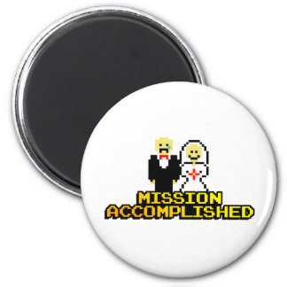 """Mission Accomplished"" Marriage (8-bit) 6 Cm Round Magnet"