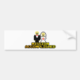 Mission Accomplished Marriage 8-bit Bumper Stickers