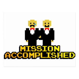 """Mission Accomplished"" Marriage (Gay, 8-bit) Postcard"