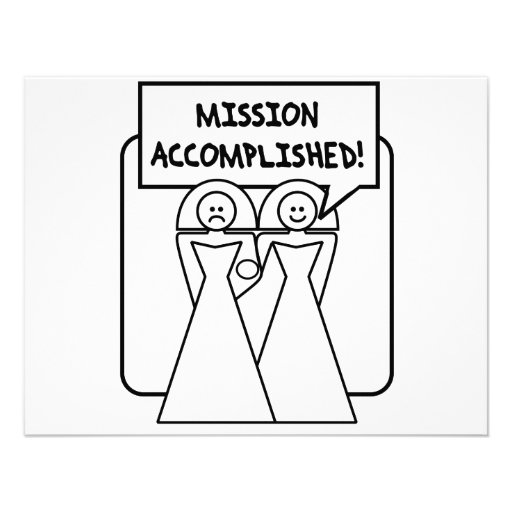 """""""Mission Accomplished"""" Marriage (homosexual) Custom Announcements"""