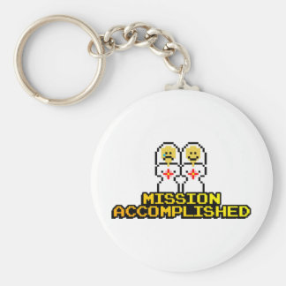 """Mission Accomplished"" Marriage (Lesbian, 8-bit) Basic Round Button Key Ring"