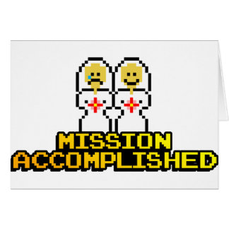 """Mission Accomplished"" Marriage (Lesbian, 8-bit) Greeting Card"