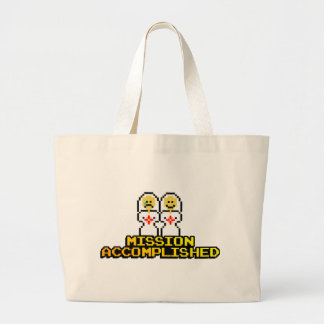 """Mission Accomplished"" Marriage (Lesbian, 8-bit) Large Tote Bag"