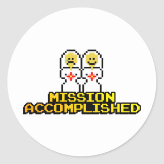 """Mission Accomplished"" Marriage (Lesbian, 8-bit) Round Sticker"