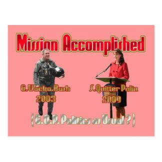 Mission accomplished Palin Bush PCard Postcards