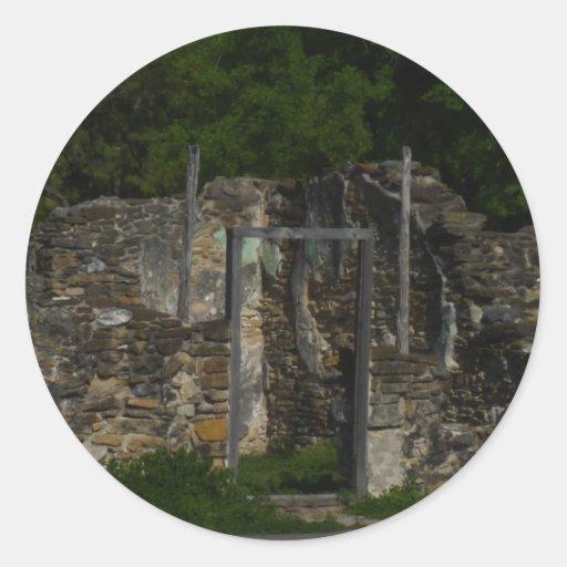 Mission Espada Ruins Round Sticker