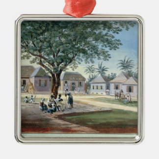 Missionary Buildings, St. Johns, Antigua (w/c and Silver-Colored Square Decoration