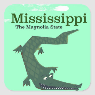 Mississippi Alligator vintage travel poster Square Sticker