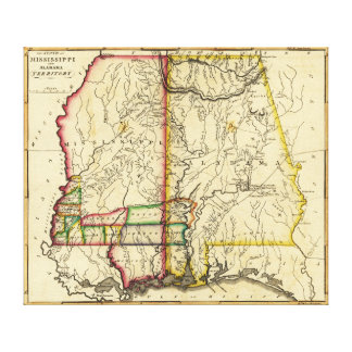 Mississippi and AlabamaPanoramic Map Canvas Print