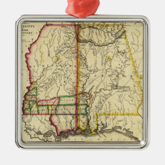 Mississippi and AlabamaPanoramic Map Christmas Ornaments