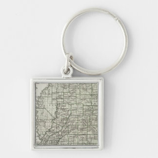 Mississippi Atlas Map Silver-Colored Square Key Ring