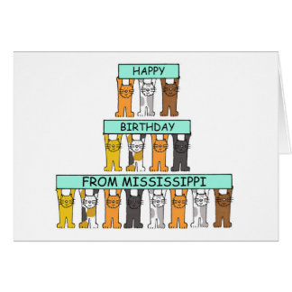 Mississippi Birthday Cats Card