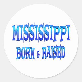 Mississippi Born Raised Round Stickers