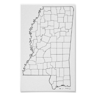 Mississippi Counties Blank Outline Map Poster