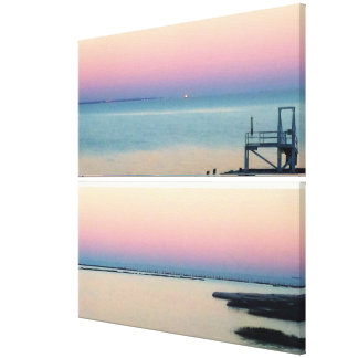 Mississippi Gulf Sunset in Pink, Blue and Peach Canvas Print