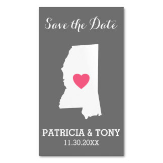 Mississippi Home State Love with Custom Heart Magnetic Business Card