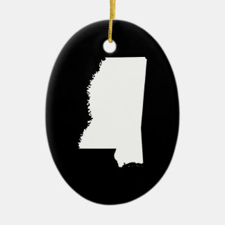 Mississippi in White and Black Christmas Ornament