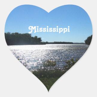 Mississippi Landscape Heart Sticker