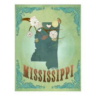Mississippi Modern Vintage State Map – Green Postcard