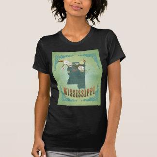 Mississippi Modern Vintage State Map – Green T-Shirt