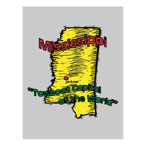 Mississippi MS  Motto ~ Towboat Capital of World Postcard