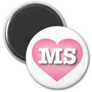 Mississippi MS pink fade heart 6 Cm Round Magnet