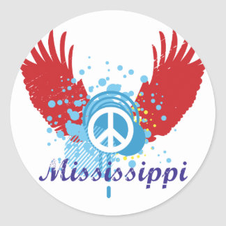 Mississippi Peace Sign Classic Round Sticker