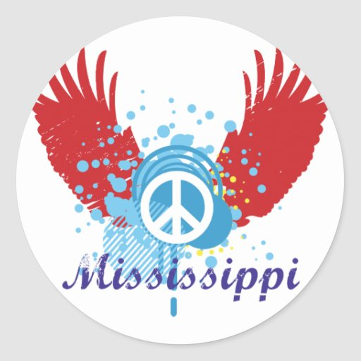 Mississippi Peace Sign Stickers