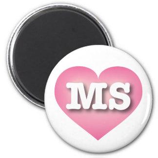 Mississippi pink fade heart - Big Love 6 Cm Round Magnet