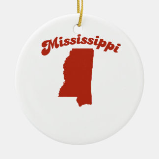 MISSISSIPPI Red State Round Ceramic Decoration