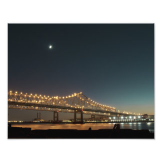 Mississippi River Bridge at Night Photo Print