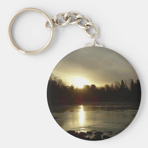 Mississippi river Sunrise reflection Keychains