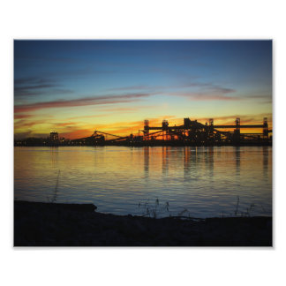 Mississippi River Sunset and Grain Loader Silhouet Photo Art