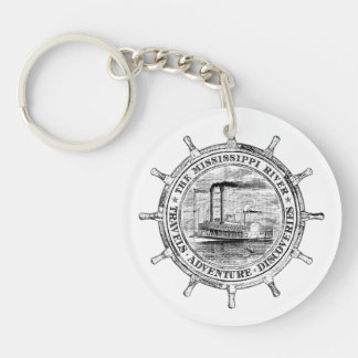 Mississippi River. Travels. Adventure. Discoveries Double-Sided Round Acrylic Key Ring