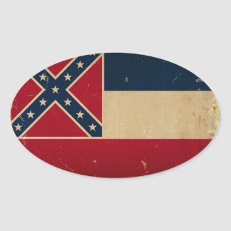 Mississippi State Flag VINTATE.png Oval Sticker