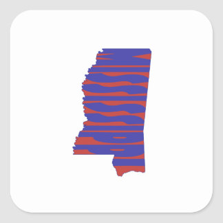 Mississippi State Name Word Art Blue Square Sticker