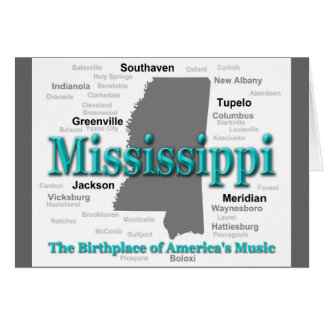 Mississippi State Pride Map Silhouette Card