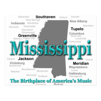 Mississippi State Pride Map Silhouette Postcards