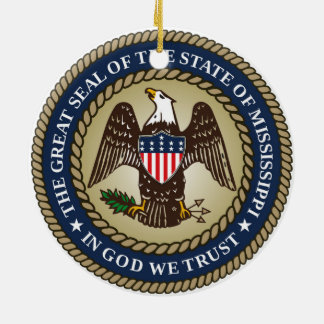 Mississippi state seal america republic symbol fla christmas ornament