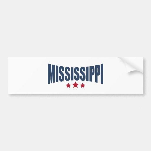 Mississippi Three Stars Design Bumper Stickers