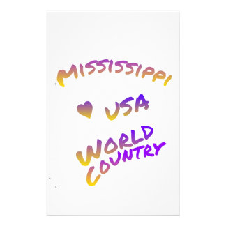 Mississippi usa world country, colorful text art customised stationery
