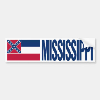 Mississippi with State Flag Bumper Sticker